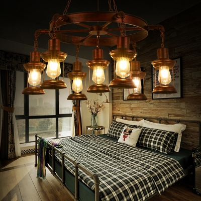 Antique Copper Hanging Pendant Lights Antique Metal Cage Hanging Chandelier Light for Living Room