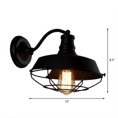 Barn Sconce Wall Lighting Farmhouse Iron 1-Light Wall Sconces with Cage for Hallway