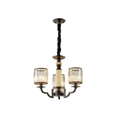 Black Cylindrical Chandelier Light Crystal and Iron Pendant Chandelier for Living Room and Bedroom