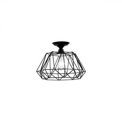 Black Geometric Ceiling Light Fixture Modern Industrial Iron 1 Light Close to Ceiling Lighting for Hall
