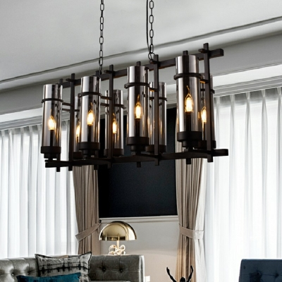 Black Island Chandelier Modern Iron 8 Light Ceiling Pendant Light with Smoked Glass Shade for Bedroom