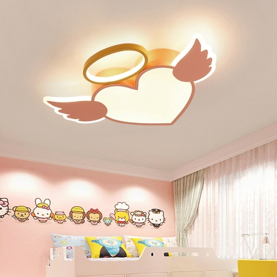 Cartoon Nordic Heart Flush Light Metallic Integrated Led Ceiling Lamp in Blue/Pink