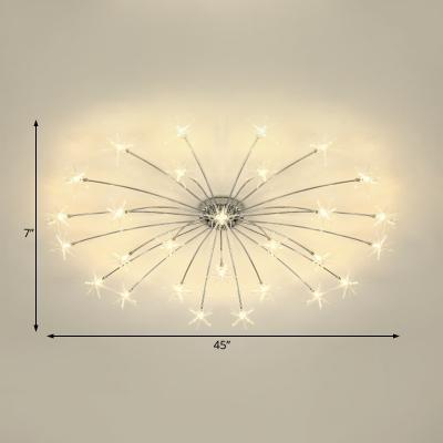 Chrome Finish Star Semi Flush Light 12/15/21/28 Light Modern Metal Ceiling Light for Bedroom