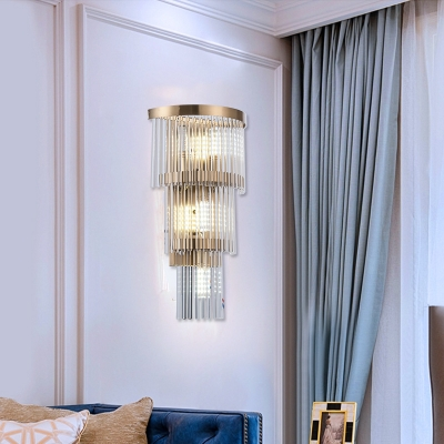 Crystal Fringe Wall Lighting Modern Metal 2/3 Tiers Sconce Light Fixture for Living Room and Bedroom