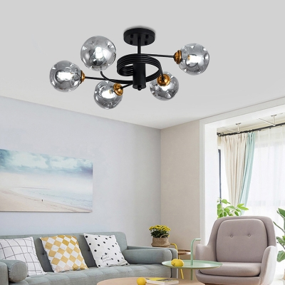 Curved Arms Living Room Semi Flush Ceiling Light Metal 3/5 Light Modern Flush Mount Light in Amber/Blue