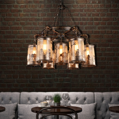 Cylindrical Hanging Pendant Lights Classic Steel 7 Heads Unique Hanging Chandelier Light for Coffee Shop