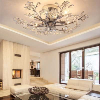 Flower Crystal Ceiling Chandelier Contemporary Metal 6 Lights Ceiling Light Fixture in Silver