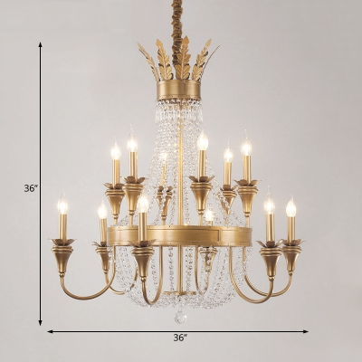 Gold Empire Chandelier Lighting with Candle and Crystal Beads Traditional Vintage Foyer Pendant Light