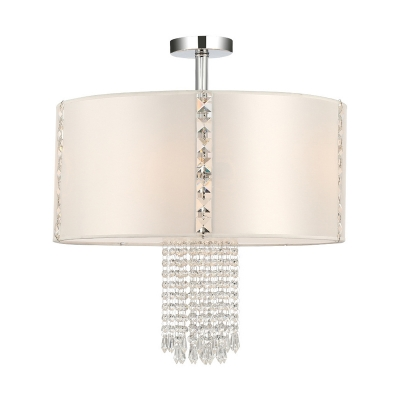 Modern Drum Semi Flush Ceiling Light with White Fabric Shade and Crystal Accents 5 Lights Ceiling Lamp in Chrome
