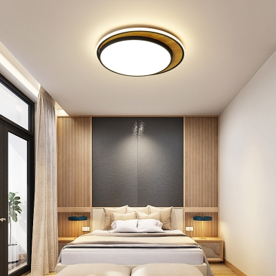Modern Simple Circular Flush Lighting Acrylic Shade Black/White LED Lighting for Sitting Room