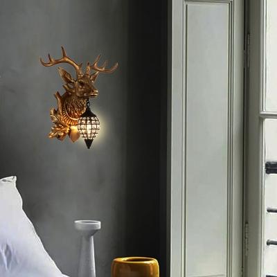 Resin Animal Wall Lighting with Deer Design Rustic 1 Light Indoor Wall Mount Light in Black