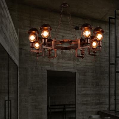 Rust Cap Hanging Chandelier Modern Industrial Metal 8 Bulbs Hanging Ceiling Fixture for Restaurant