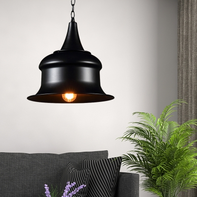 Single Light Iron Pendant Ceiling Light Industrial Retro Bell Hanging Light Fixture for Bedroom, HL559549, Black;red;yellow