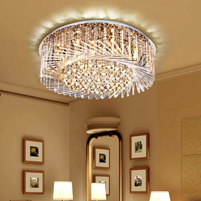 Swirl Crystal Glass Flush Mount Light Fixture Modern Sparkling Close to Ceiling Light for Bedroom Living Room