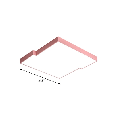 Warm/White Squared Flush Mount Lighting Macaron Iron and Acrylic Bedroom Flush Mount in Pink/Blue/Green