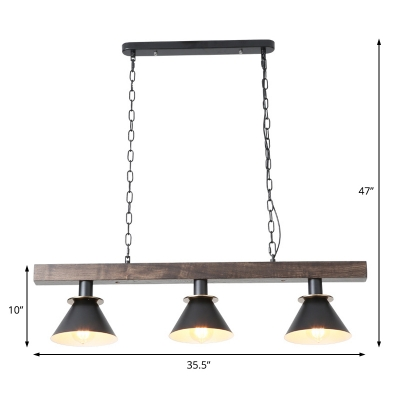 Weathered Wood Island Pendant Village 3 Light Conic Island Lighting for Kitchen Table