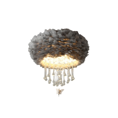 White/Pink/Grey Feather Ceiling Lights Contemporary Crystal Creative Angel Ceiling Light for Bedroom