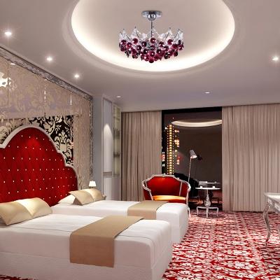 Wine Red/Amber/Dark Gray Semi Flush Ceiling Light Contemporary Metal Crystal 6 Light Semi Flush Chandelier for Bedroom