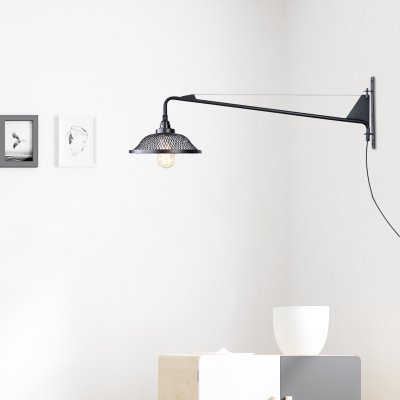 Wire Mesh Plug in Sconce Wall Lights Industrial Vintage 1/2 Light Adjustable Sconce Lights for Corridor, HL560714