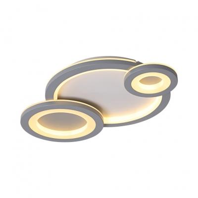 3 Light Combination Fixture Ring Semi Flush Lighting Acrylic Ceiling Flush in White/Gray for Living Room