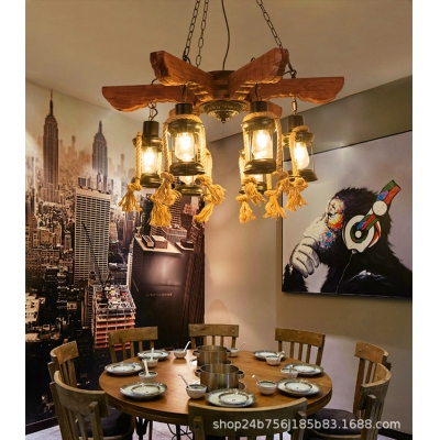 Arrows Pendant Chandelier Rustic Wood and Iron 6 Light Hanging Light Fixtures in Black for Dining Room