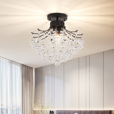 Black Crystal Ball Shaded Ceiling Lights Contemporary Iron 1 Light Ceiling Light Fixtures For Bedroom Beautifulhalo Com