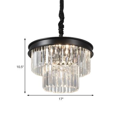 Black Crystal Chandelier for Living Room, Modern Metal Crystal Fringe Hanging Light Fixture