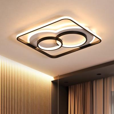 Black Hoop Ceiling Mounted Lights Modern Simple Acrylic Shade LED Flush Light