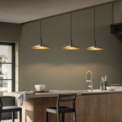 Brushed Brass Pendants Lighting Retro Industrial 1-Light Hanging Indoor Lights with Metal Cone Shade