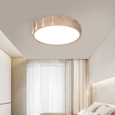Contemporary Rose Gold Flush Light with Drum Shade LED Acrylic Ceiling Mounted Lights for Bedroom