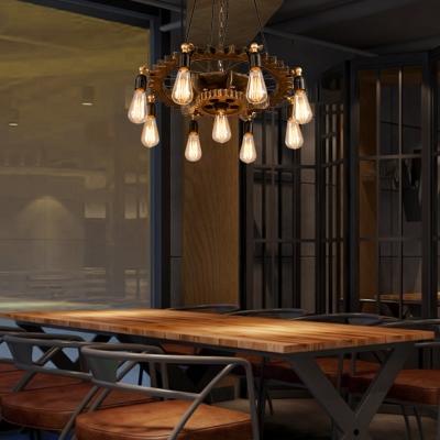 Exposed Bulb Ceiling Pendant Light Vintage Steel 9-Light Chandelier Lighting Fixture for Bedroom