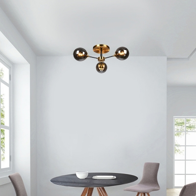 Glass Orb Semi Flush Light with Radial Design Mid Century Ceiling Light Fixture in Brass