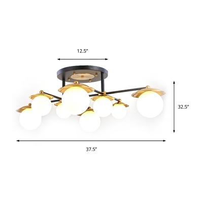 Mid Century Modern Globe Ceiling Light Frosted Glass 4/6/8 Light Semi Flush Light in Brass