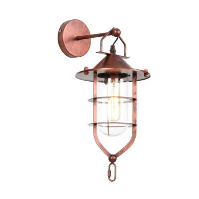 Nautical Caged Wall Sconce Lamp Iron Wall Light Fixture with Clear Glass Shade for Foyer
