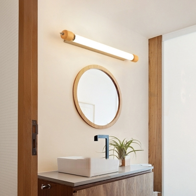 Nordic Style Linear Wall Light Sconce Acrylic Wooden Sconce Wall Lights for Bathroom