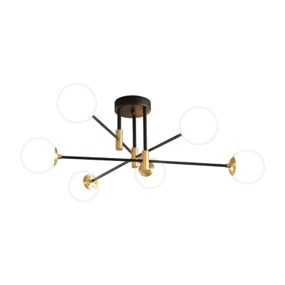 Sputnik Semi Flush Mount with Sphere Opal Glass Shade Post Modern Semi Flush Ceiling Light in Brass