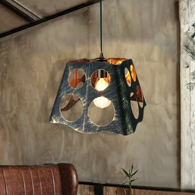 Unique Hollow Pendant Lamps Retro Style Metal 1 Head Pendant Light Fixtures for Restaurant, HL561678