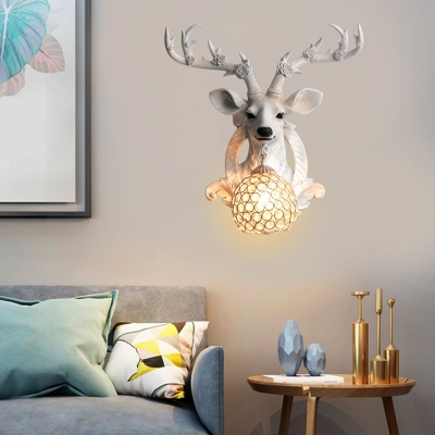 Village Deer Wall Sconce with Domed Clear Crystal Shade Resin 1 Light Dining Room Lighting
