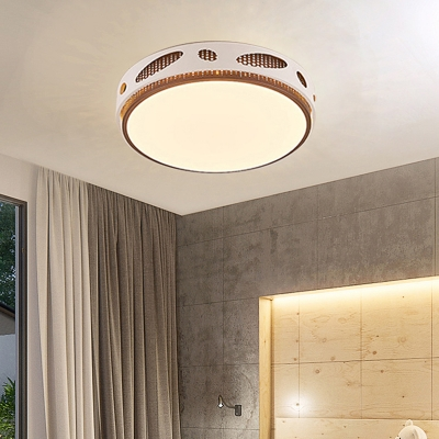 Hollowed-Out Metal Drum Ceiling Lamp LED Modern Simple Flush Mount Lighting in Brown