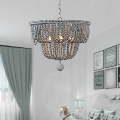 Blue and Gray Beaded Chandelier Shabby Chic Wooden Hanging Pendant Light with Hanging Ball