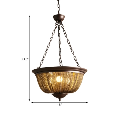 Chain Chandelier Lighting Retro Loft Style 3 Lights Metal Hanging Lamp in Bronze