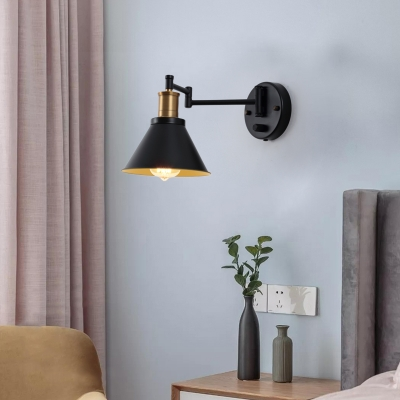 Cone Wall Sconce Lamps Industrial-Style Metal 1 Light Wall Sconce Lighting in Black and Satin Brass, HL560408