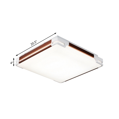 Contemporary Square/Rectangle Ceiling Flush Acrylic LED Champagne Gold Mount Fixture