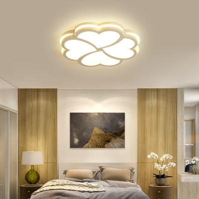 Flower Living Room Ceiling Light Acrylic Modern Flush Mount Fixture in Black/White