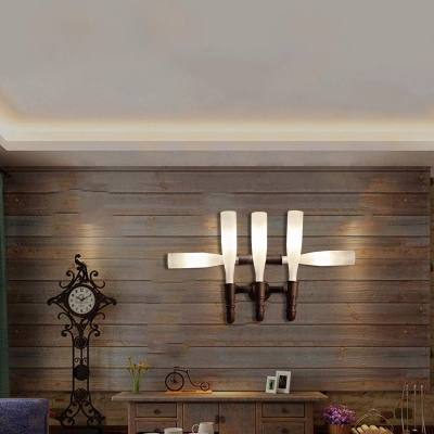Glass Bottle Wall Mounted Light Antique Iron 4/5 Light Wall Sconce Lighting in Rust for Bar