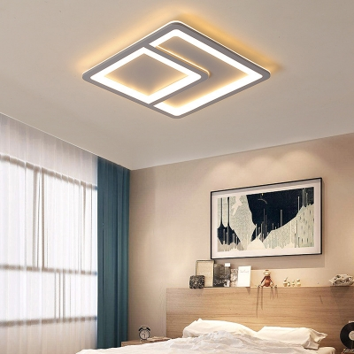 Gray Acrylic Flush Lighting Contemporary Integrated Led Flush Mount Light for Bedroom
