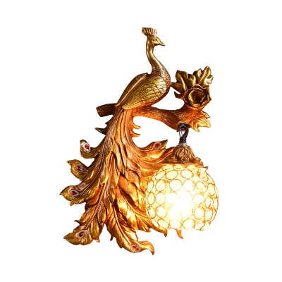 Hand Painted Peacock Wall Lamp with Globe Lampshade 1 Light Resin Decorative Wall Light