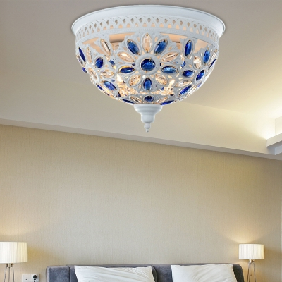Industrial Bowl Flush Mount Lighting Metal and Bead 2 Lights Close to Ceiling Light in White Finish