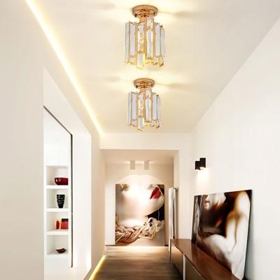 Led Cylinder Semi Flush Light Modern Clear Crystal 1 Light Semi Flush Ceiling Light in Gold