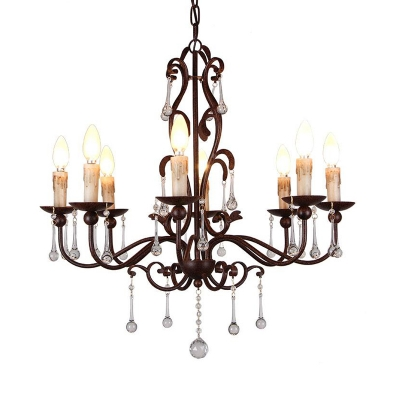Multi Light Candle Pendant Light with Crystal Drop French Country Metal Chandelier